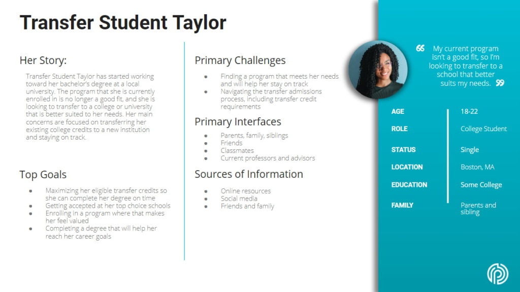 Transfer Student Taylor Buyer Persona